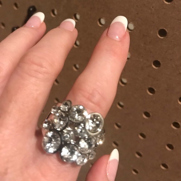 """Silver ring with white crystal """"bubble"""" stones."""